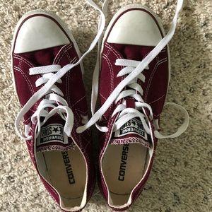 Gently worn maroon Converse sneakers